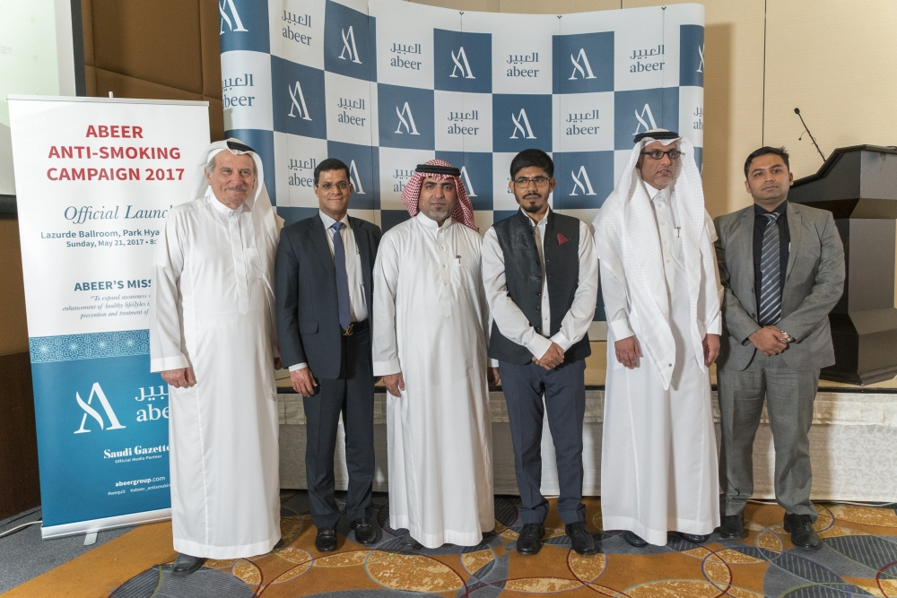 Mohammed Bajobair, regional director of MOH (private sector) Jeddah, and Indian Consul General Mohammed Noor Rahman Sheikh with the leadership of Abeer Medical Group, Khaled Almaeena, director; Alungal Mohammed, president; Saeed Sullamy, senior management consultant; and Dr Jemshith Ahmed, vice president (strategic planning), at the official launching ceremony of Abeer Anti-smoking Campaign 2017. — Courtesy photo