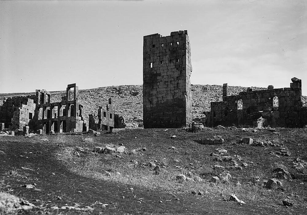This photo provided by the Library of Congress, taken in 1934, shows the ruins of the 8th century Qasr Al-Banat, or Girls' Palace, in modern day Raqqa city in northern Syria. — AP