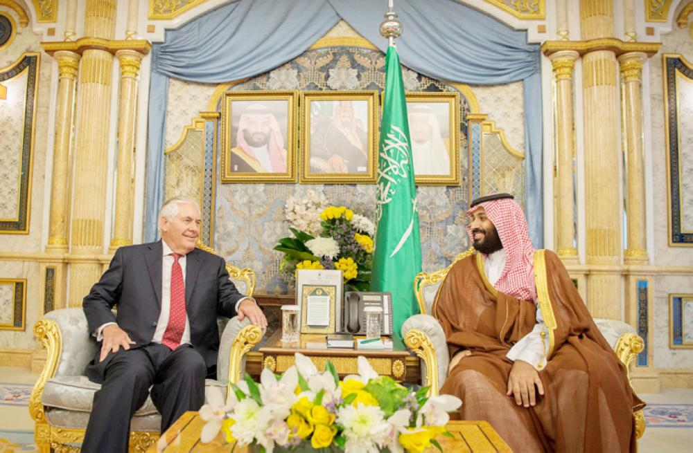 Crown Prince Muhammad Bin Salman, deputy premier and minister of defense, meets with US Secretary of State Rex Tillerson in Jeddah, Wednesday. — Reuters