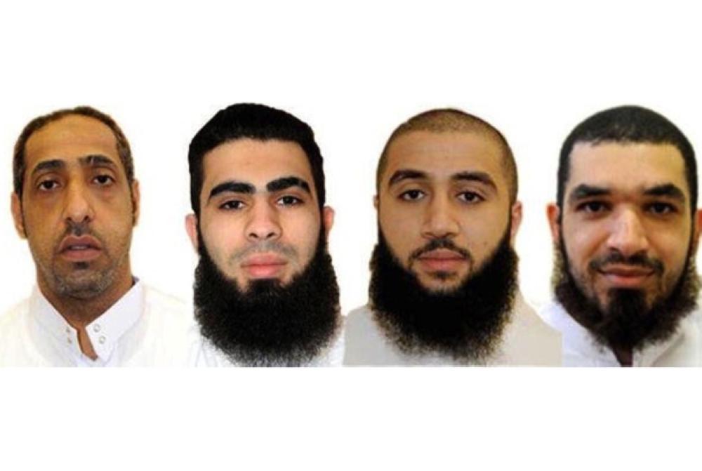 Saudi nationals (from left) Yousef Ali Al-Mushaikhees, Mahdi Hassan Al-Sayegh, Amjad Naji Al-Muaibeed and Zaher Abdulrahim Al-Basri who were executed in Taif on Tuesday. — SPA