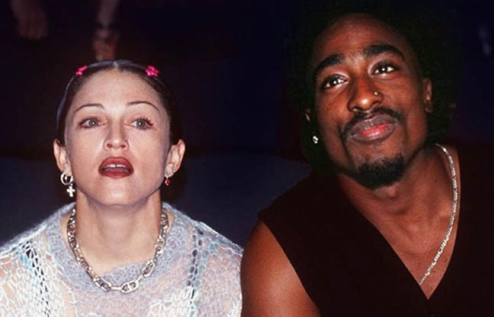 Madonna and Tupac Shakur are seen together in this undated file photo.