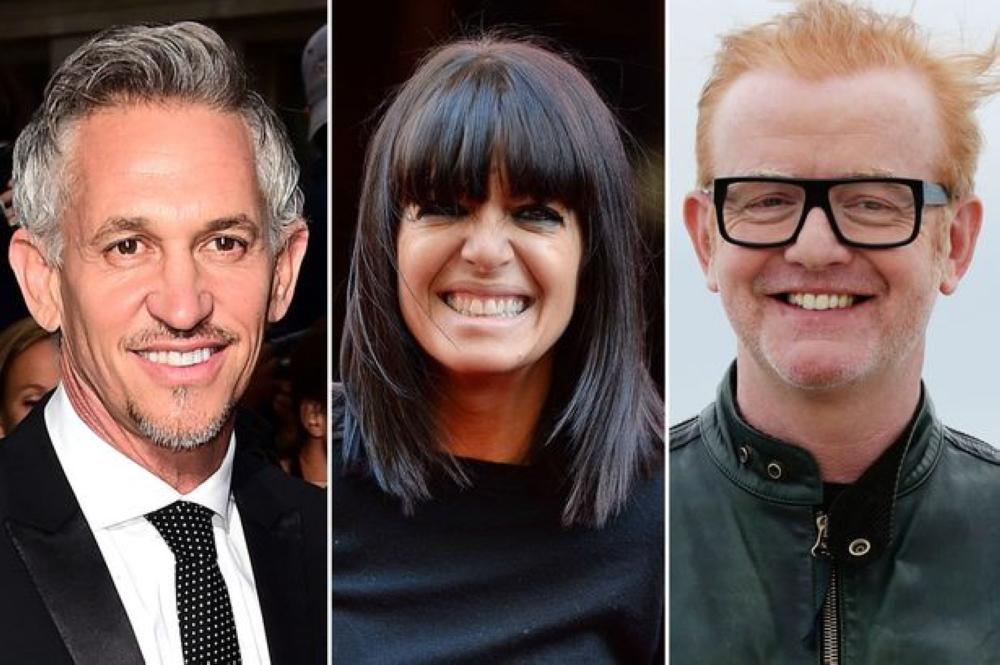 The BBC's best paid stars, Chris Evans, right, and Gary Lineker, left, made nearly fives times as much as the highest paid female star, Claudia Winkleman.