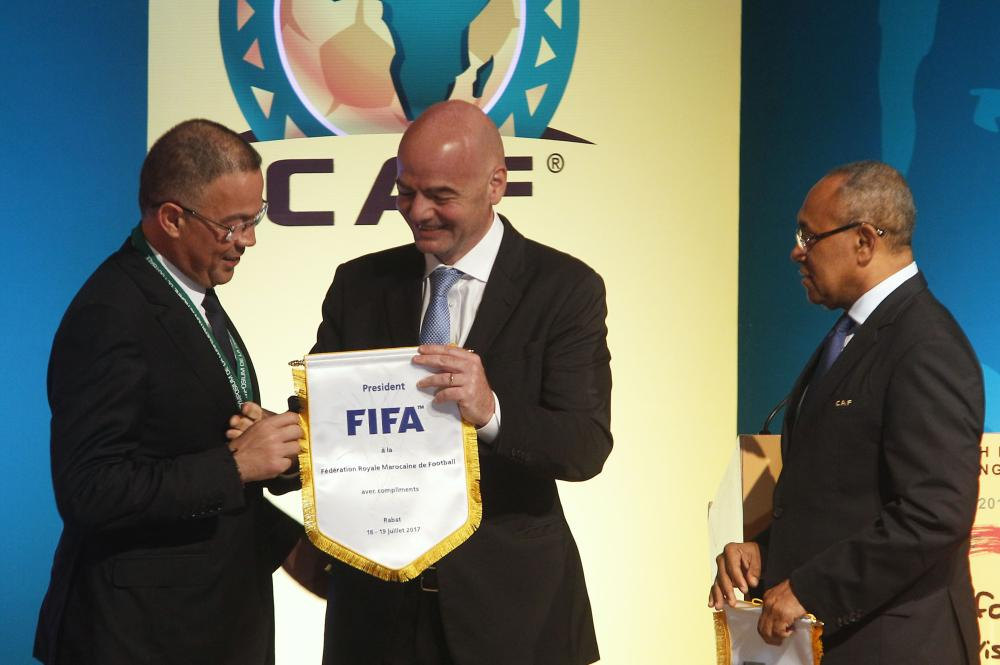 Recently elected president of the African Football Confederation (CAF) Ahmad Ahmad (R), FIFA president Gianni Infantino (C) and Royal Moroccan Football Federation president Fouzi Lekjaa  attend the first ever African Football Symposium in Skhirat, on the outskirts of the Moroccan capital, on Wednesday.  Delegates from CAF's 55 member federations, coaches, retired players as well as top football officials from FIFA are in the Moroccan capital to discuss, among other issues, the future of African Cup of Nations, including its format and timing.  — AFP