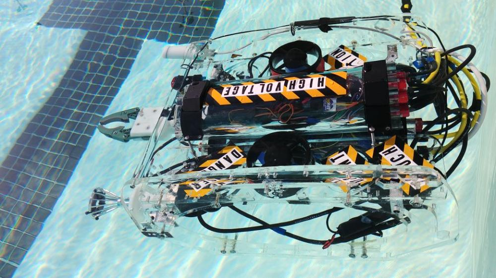 The robot used by the Effat University team in the International MATE ROV Competition held in Long Beach California last month.