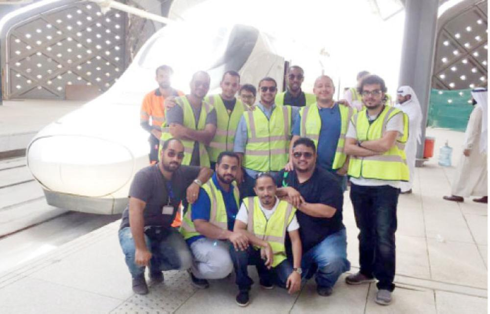 The crew of the Haramain Express Train at Jeddah station.