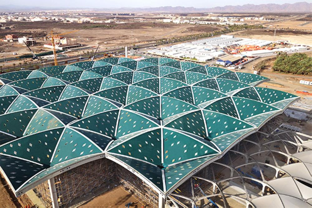 The concourse roof of the Haramain Railway's Madinah station.