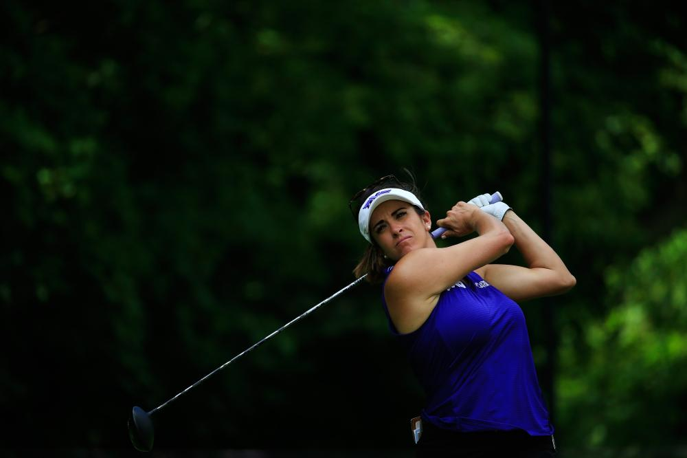 Gerina Piller hits her drive on the 11th hole during the first round of the Marathon Classic at Highland Meadows Golf Club in Sylvania, Ohio, Thursday. — AFP