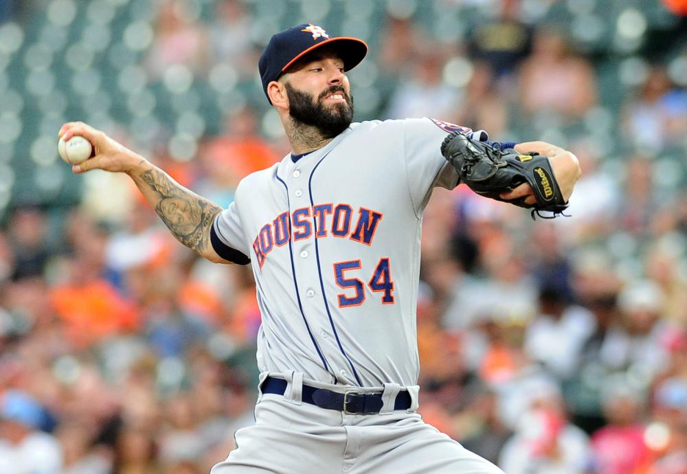 Houston Astros' pitcher Mike Fiers throws a pitch against the Baltimore Orioles at Oriole Park at Camden Yards in Baltimore Friday. — Reuters