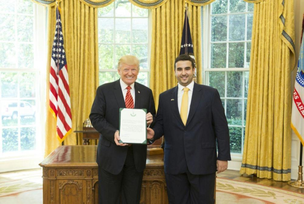 Prince Khalid Bin Salman, Saudi Ambassador to the US, presents his credentials to US President Donald Trump at the White House on Friday. — SPA