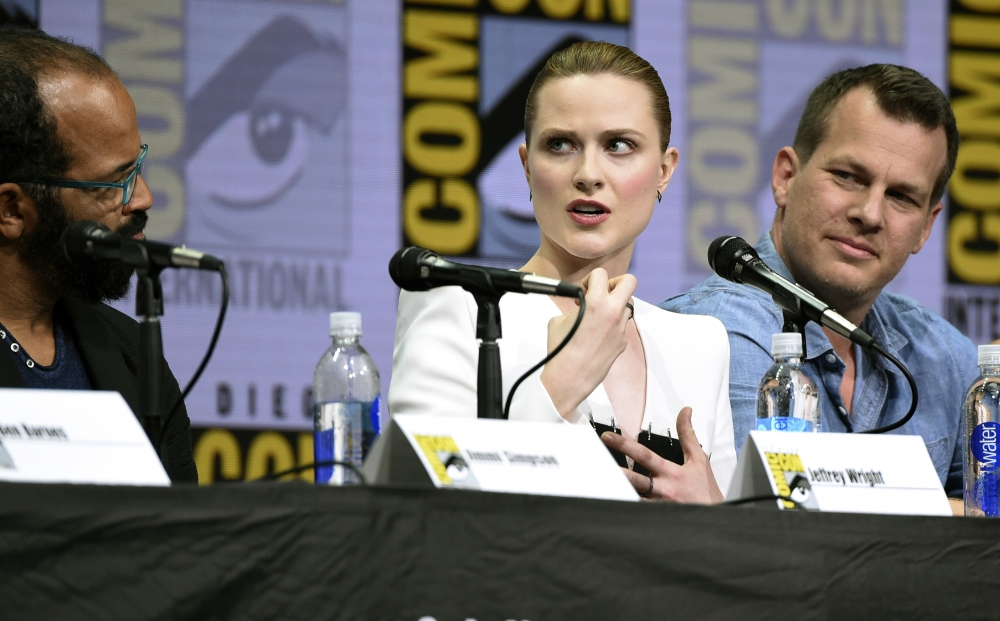 From left, actors Jeffrey Wright, Evan Rachel Wood and Jonathan Nolan attend the