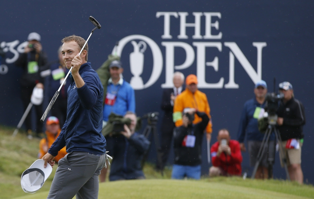 Jordan Spieth of the United States smiles after winning the British Open Golf Championships at Royal Birkdale, Southport, England, Sunday. — AP
