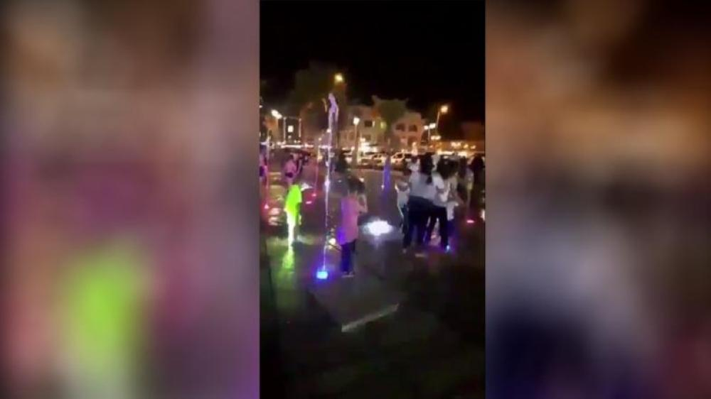 Social media users bombarded the woman's account with footage of fountains from all over the world where children can also be seen playing peacefully.