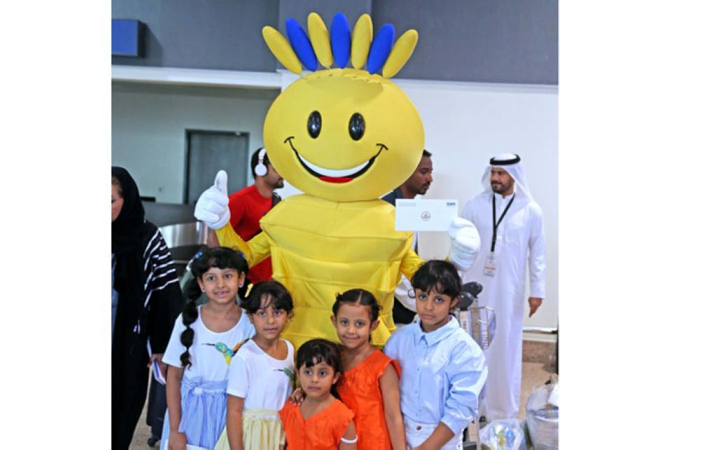Ever-smiling mascot 'Modhesh' greets travellers from Saudi Arabia at Terminal 2 in Dubai International Airport