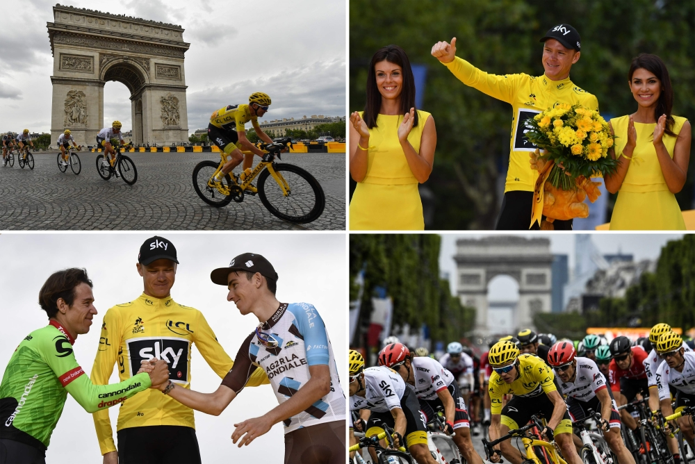 A combination of pictures shows (From left, top to bottom) Great Britain's Christopher Froome wearing the overall leader's yellow jersey riding past the Arc de Triomphe; Tour de France 2017's winner Great Britain's Christopher Froome celebrating his yellow jersey; second-placed Colombia's Rigoberto Uran (L), Tour de France 2017's winner Great Britain's Christopher Froome (C), wearing the overall leader's yellow jersey, and third-placed France's Romain Bardet celebrating on the podium; Great Britain's Christopher Froome wearing the overall leader's yellow jersey riding in front of the Arc de Triomphe; as part of the 103 km twenty-first and last stage of the 104th edition of the Tour de France cycling race Sunday  between Montgeron and Paris Champs-Elysees.  — AFP