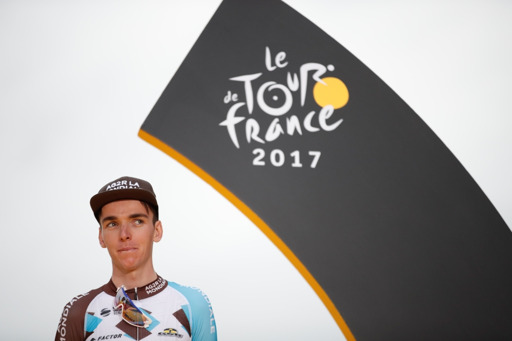 AG2R-La Mondiale rider Romain Bardet of France is seen on the podium  after the 103-km Stage 21 from Montgeron to Paris Champs-Elysees, France. Bardet  finished third in the 104th Tour de France cycling race. — Reuters
