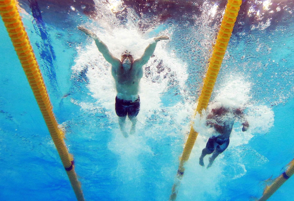 Adam Peaty of Britain seen competing in the men's 50m Breaststroke semifinal at the World Aquatics Championships in Budapest, Hungary, Tuesday. He set world records twice in the event. — Reuters