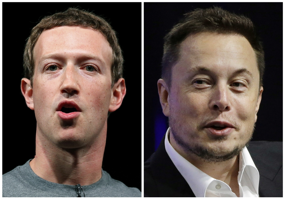 This combo of file images shows Facebook CEO Mark Zuckerberg, left, and Tesla and SpaceX CEO Elon Musk. An online smackdown between tech titans Zuckerberg and Musk over the possible threat of artificial intelligence underlines how little most people know about the rapidly advancing technology. - Reuters