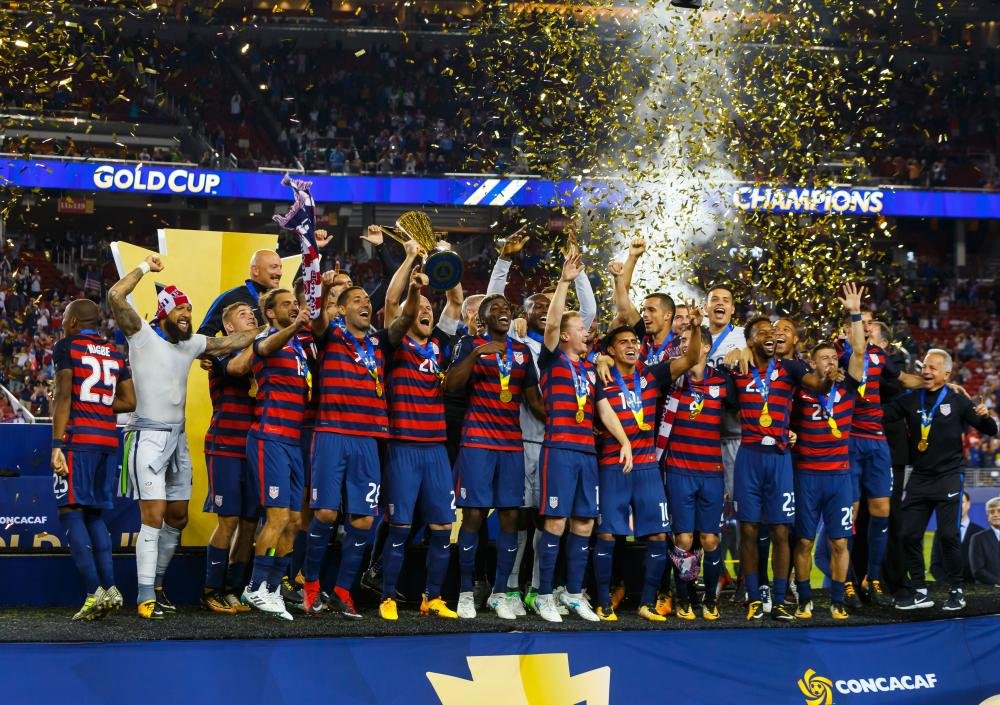 United States players celebrate their victory against Jamaica after the CONCACAF Gold Cup final at Levi's Stadium in Santa Clara Wednesday. — AFP