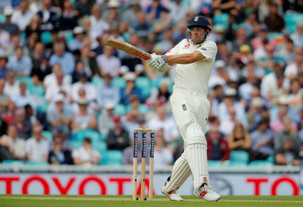 England's Alastair Cook in action against South Africa on the opening day of their third cricket Test match in London Thursday. — Reuters