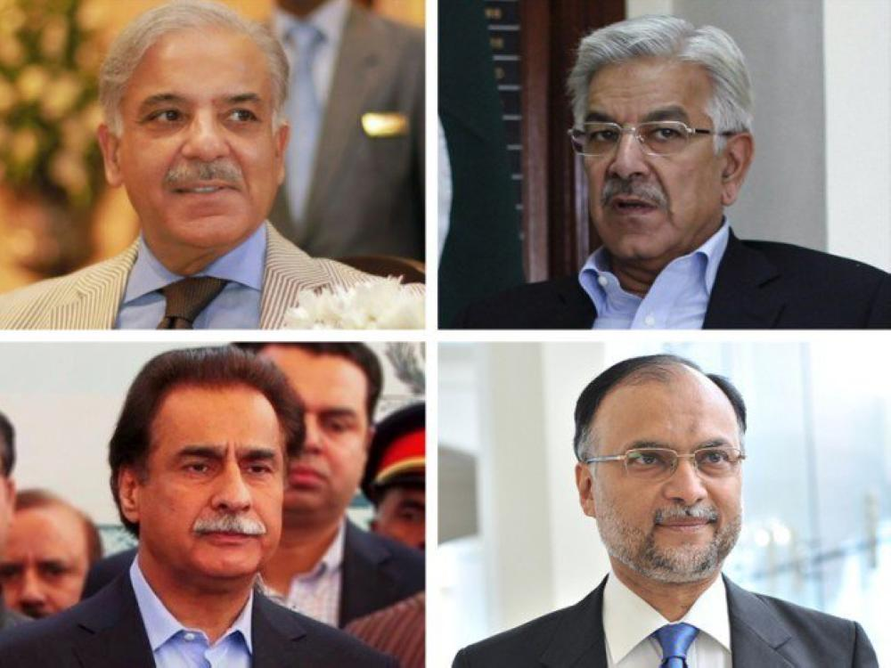 Clockwise: Shahbaz Sharif, Khwaja Asif, Ahsan Iqbal and Sardar Ayaz Sadiq. — Courtesy photos