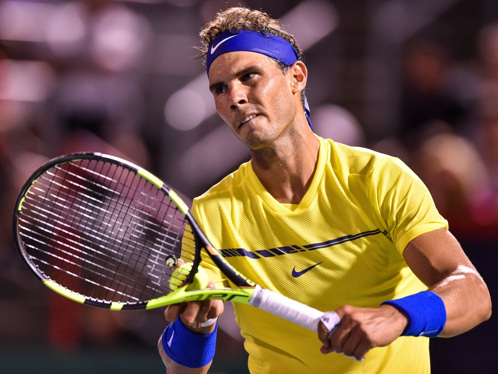 Rafael Nadal of Spain prepares to serve against Denis Shapovalov of Canada during day seven of the Rogers Cup presented by National Bank at Uniprix Stadium on Thursday in Montreal, Quebec, Canada. — AFP