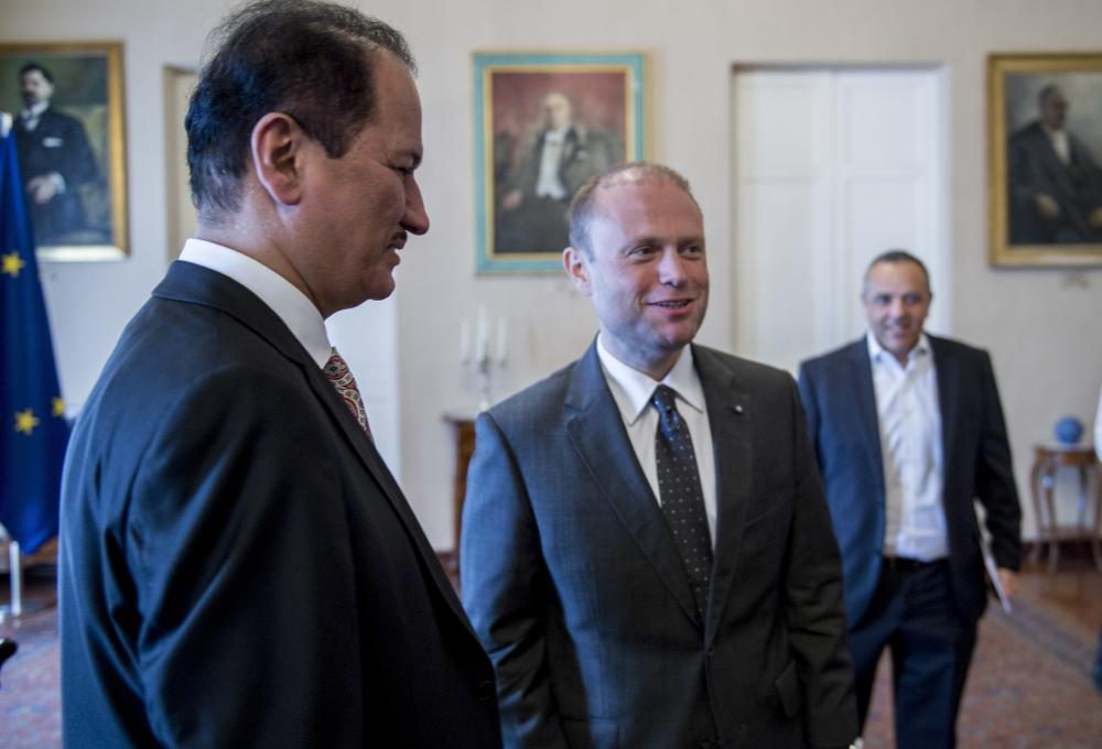 Dubai-based developer DAMAC Chairman, Hussain Sajwani, left, meets with Malta Prime Minister Joseph Muscat, middle, in Malta. Hussain Sajwani met with leaders in the two European nations and addressed local journalists, many of whom referred to his ties to President Donald Trump or simply called him