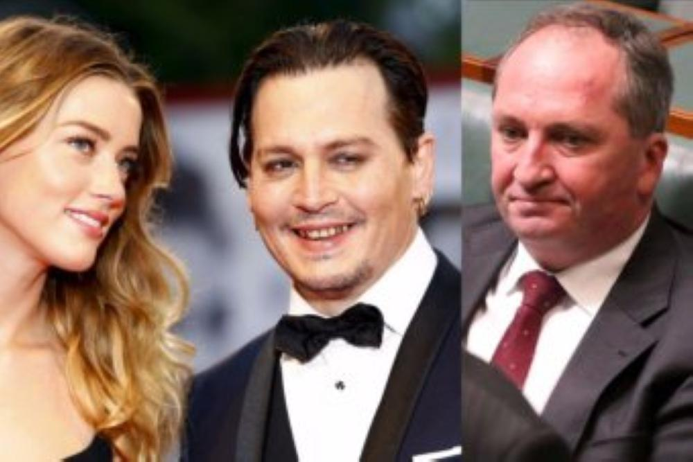 A combination of file photos shows Hollywood actress Amber Heard, left, actor Johnny Depp, center, and Australia's Deputy PM Barnaby Joyce. — Courtesy photo