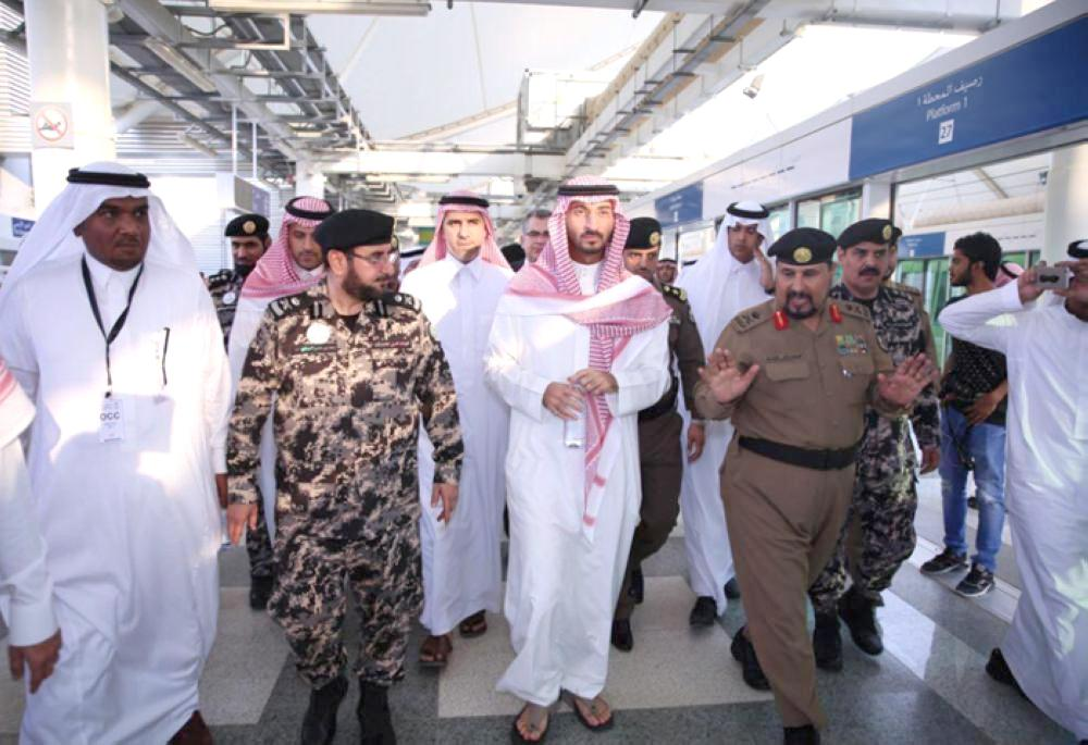 Deputy Emir of Makkah Prince Abdullah Bin Bandar inspects on Monday the preparedness of Mashaer train to transport pilgrims during the coming Haj season. He also visited health centers at the Holy sites. – SPA