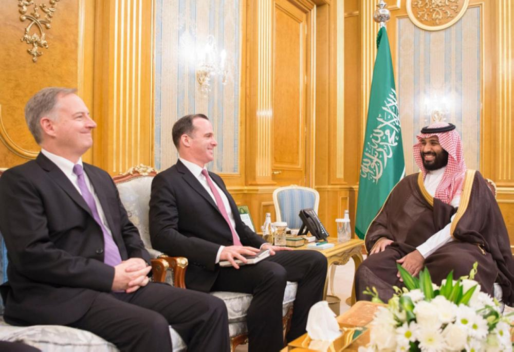 Crown Prince Muhammad Bin Salman, deputy premier and minister of defense, holds talks with the US Special Presidential Envoy for the Global Coalition to Counter ISIS Brett McGurk in Jeddah on Tuesday. — SPA.