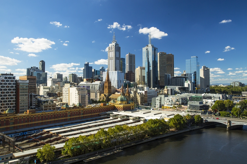 Flinders Street Station and City Skyline, Melbourne