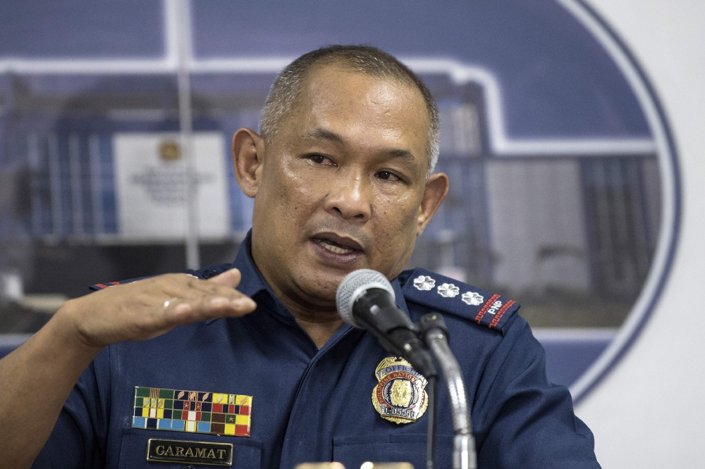 Police Senior Superintendent Romeo Caramat gestures during a press conference at the Philippine National Police (PNP) headquarters in Manila on Wednesday. — AFP