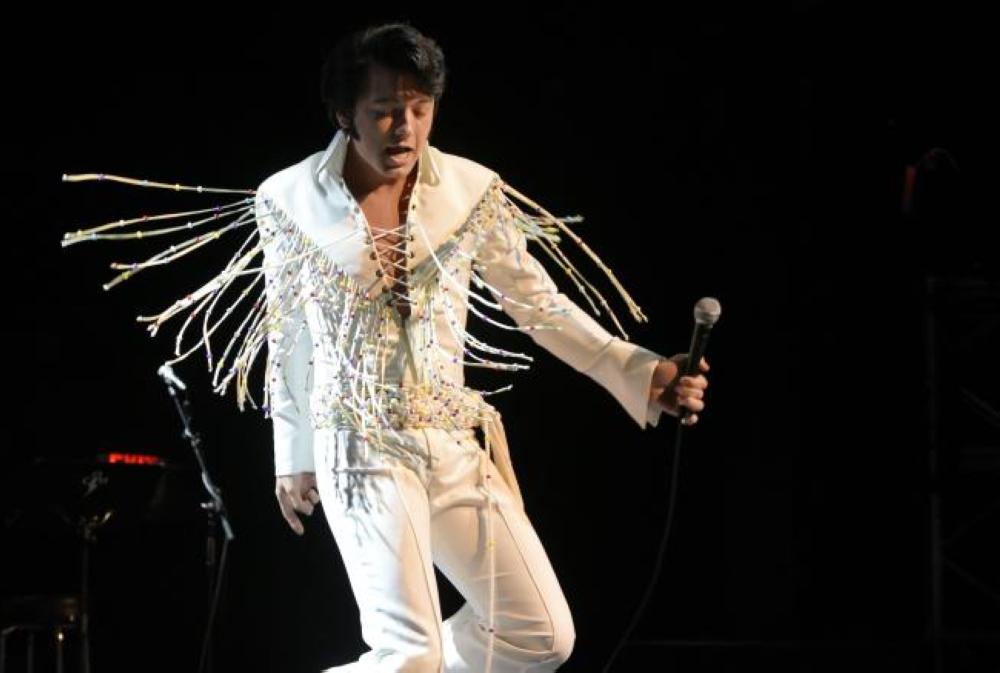 "Elvis tribute artist Matthew Boyce performs during the preliminary round of the ""Images of the King"" contest at the New Daisy Theater on in Memphis, Tennessee, in this Aug. 12, 2017 file photo. — AFP"