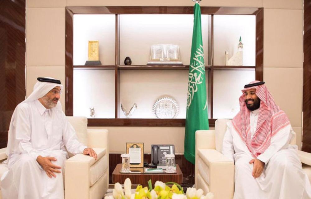 Saudi Crown Prince Muhammad Bin Salman, deputy premier and minister of defense, meets Sheikh Abdullah Bin Ali Bin Abdullah Bin Jassem Al Thani in Jeddah. - SPA
