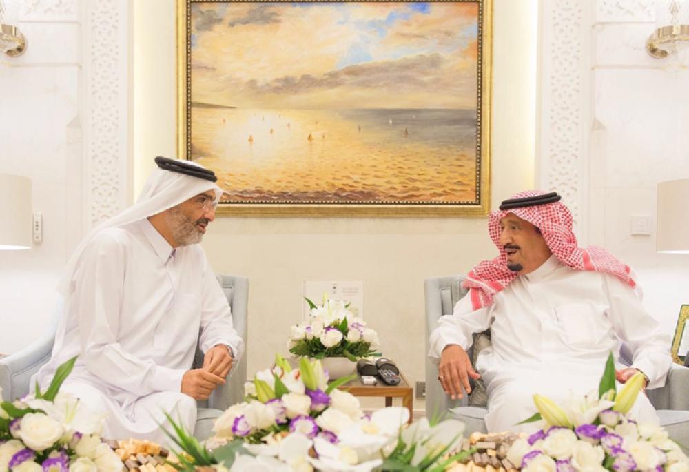 King Salman receives Sheikh Abdullah Bin Ali Al-Thani in Morocco