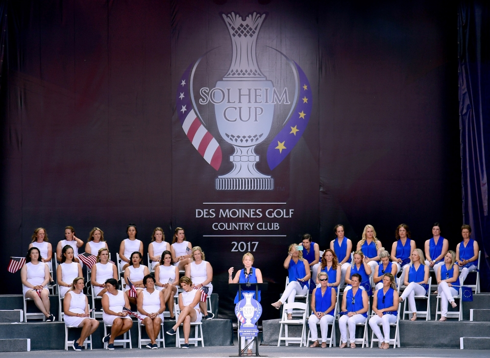Annika Sorenstam of Team Europe speaks during opening ceremony for the Solheim Cup at the Des Moines Golf and Country Club on August 17, 2017 in West Des Moines, Iowa.  — AFP