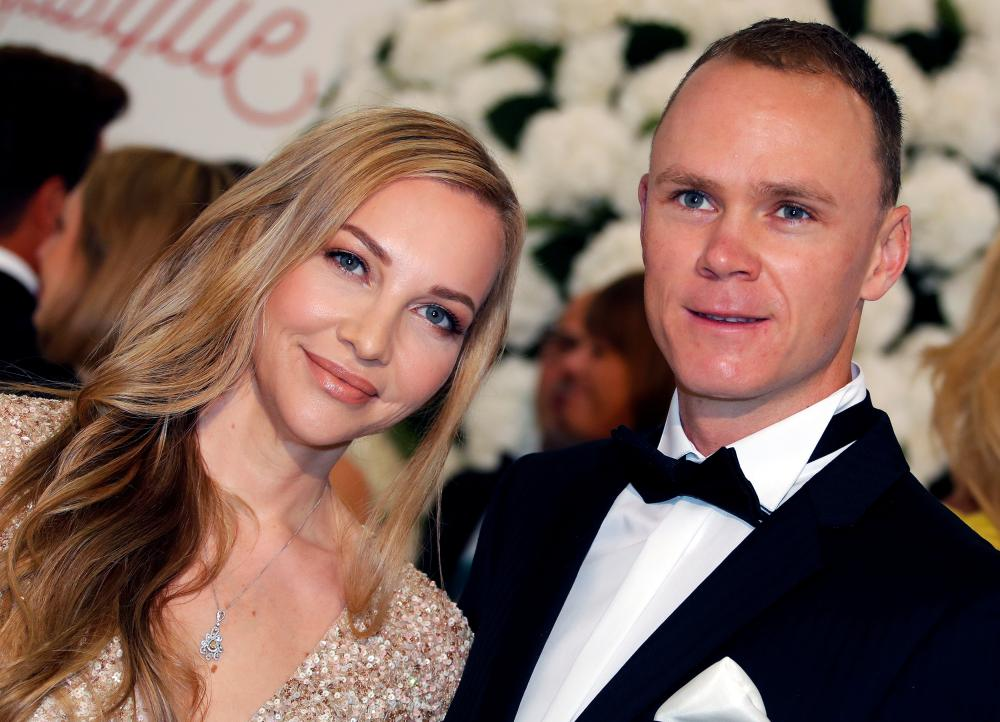 File photo shows four times Tour de France winner Chris Froome arrives with his wife Michelle Cound for the annual Red Cross Gala in Monaco. — Reuters