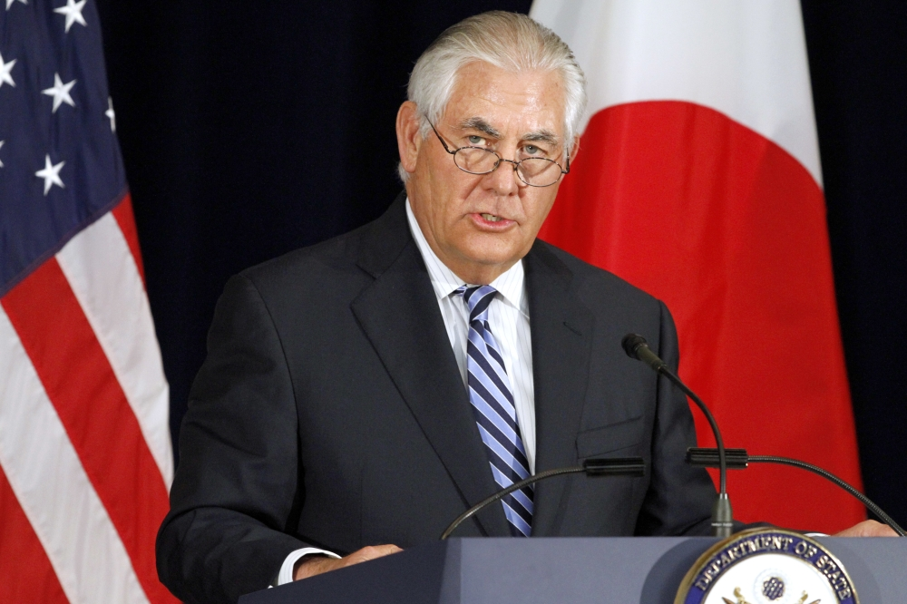 Secretary of State Rex Tillerson speaks during a news conference, Thursday, at the State Department in Washington. — AP