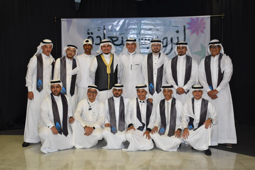 Rewa'a, a team of volunteers, in a group picture during the first anniversary celebration at the JCCI. With its sponsors, several founders, and managers of other volunteer teams, Rewa'a marked the ceremony.