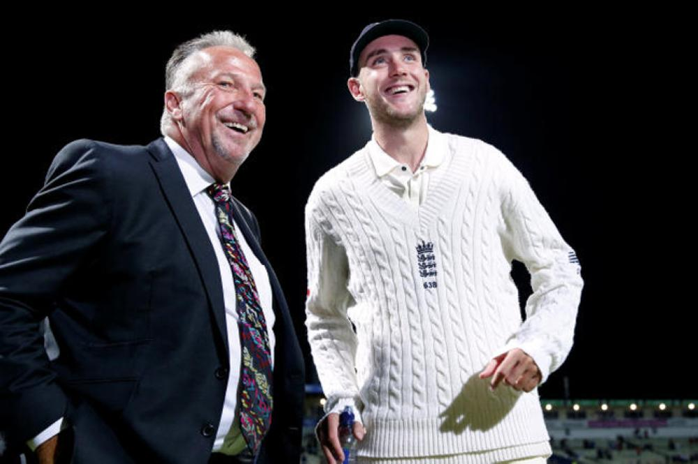 England's Stuart Broad with Ian Botham after becoming England's second highest wicket taker in test matches. — Reuters
