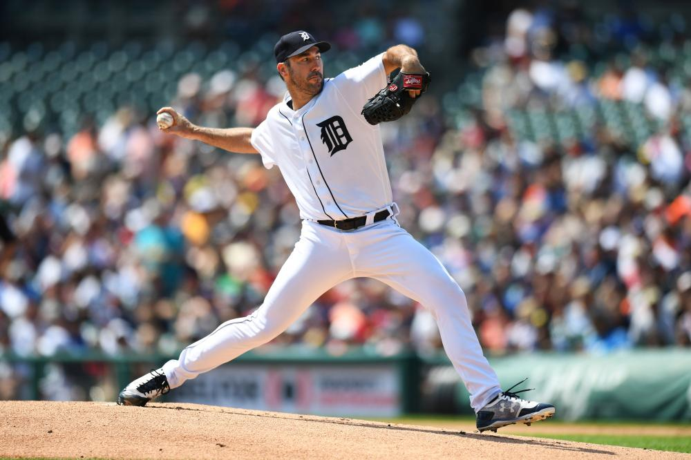 Detroit Tigers' starting pitcher Justin Verlander pitches against the Los Angeles Dodgers during their MLB game at Comerica Park in Detroit Sunday. — Reuters