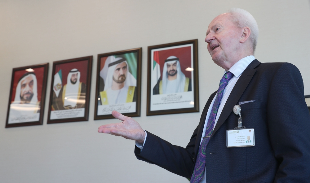 Christer Viktorsson, the Swedish-Finnish director general of the UAE's Federal Authority for Nuclear Regulation (FANR), gestures as he gives an interview with AFP in his office in Abu Dhabi. — AFP
