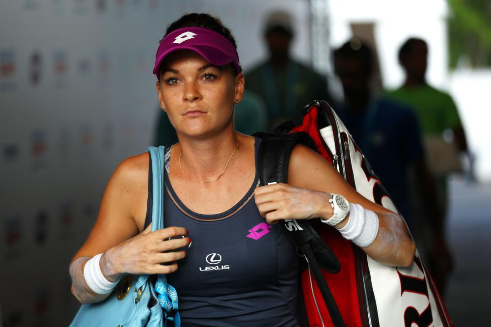 Agnieszka Radwanska of Poland arrives for her match against Eugenie Bouchard of Canada at the Connecticut Open in New Haven Tuesday. — AFP