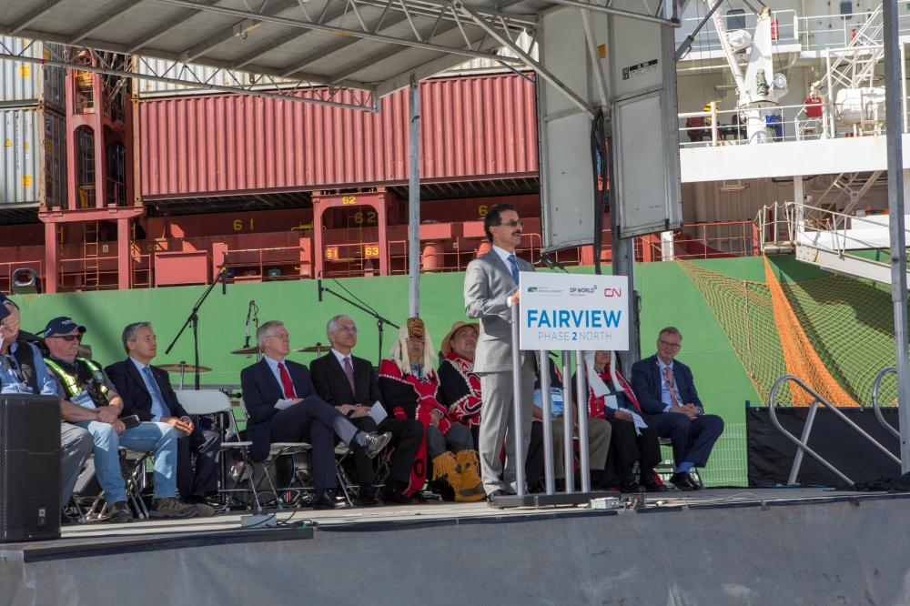 DP World Group Chairman and CEO Sultan Ahmed Bin Sulayem speaks at the ribbon cutting ceremony to mark the completion of Prince Rupert Fairview Container Terminal's expansion project