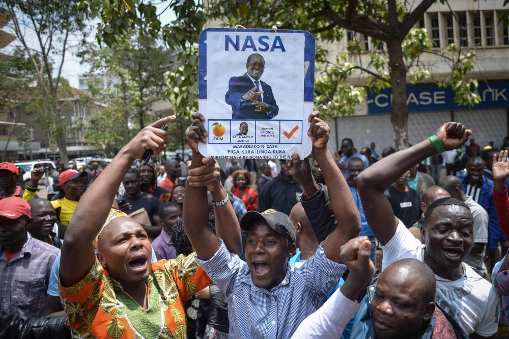 Supporters of Kenya's National Super Alliance (NASA) celebrate in Nairobi after the Supreme Court on Friday ordered a re-run of the Aug. 8 presidential poll. — AFP