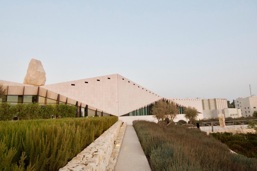 The Palestinian Museum with an unfinished work by Yazan Khalili atop the museum — Photos courtesy Hyperallergic