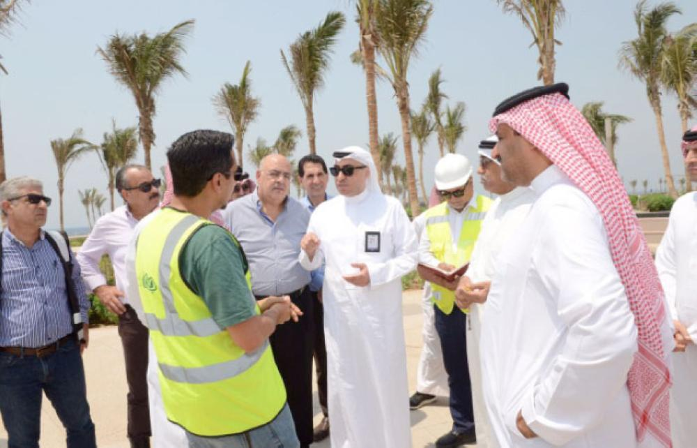 Jeddah Mayor Hani Abu Ras being briefed about a project during his inspection tour. — Courtesy photo