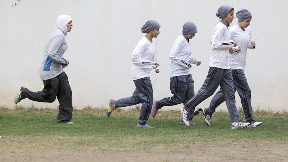 In this May 21, 2012 file photo, members of a Saudi female soccer team practice in Riyadh. — AP