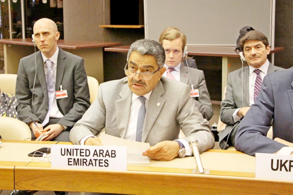 Representative to the United Nations Obaid Salem Al Zaabi making a point