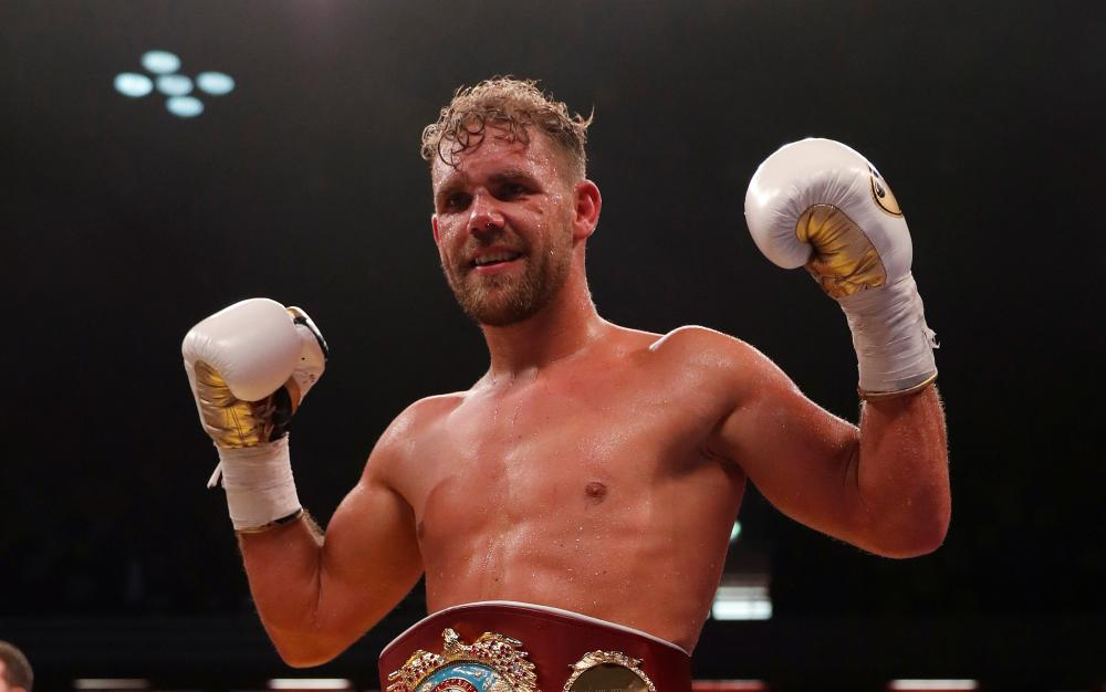Billy Joe Saunders celebrates after winning the WBO world middleweight bout against Willie Monroe Jr. at the Copper Box Arena in London Saturday. — Reuters