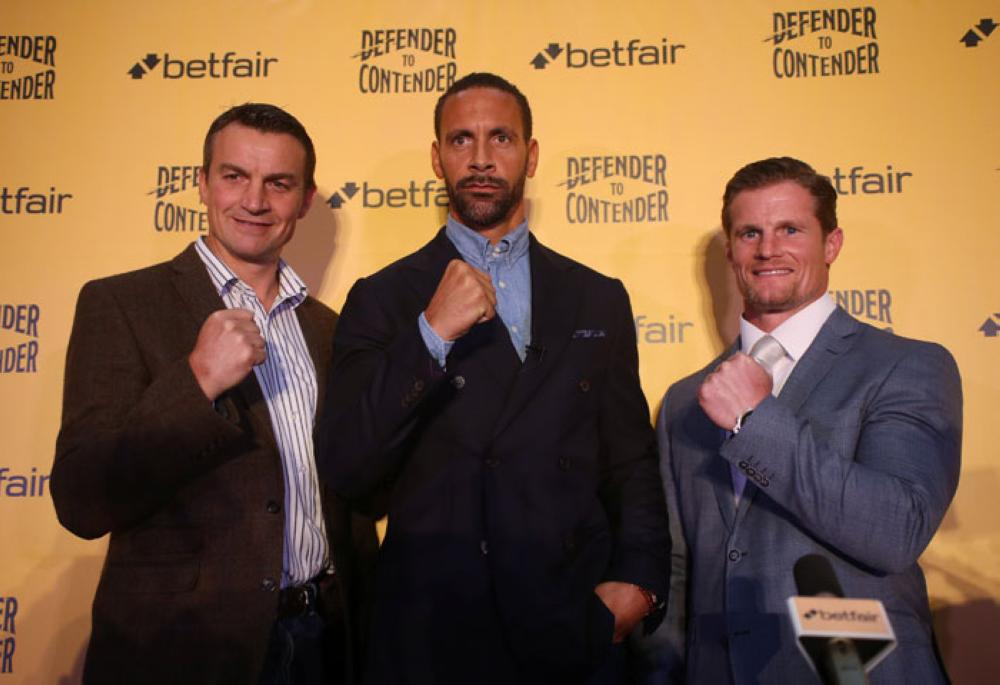 Richie Woodhall, Rio Ferdinand and Mel Deane pose after the press conference at Bethnal Green, London, in which Ferdinand launched his boxing career on Tuesday. — Reuters